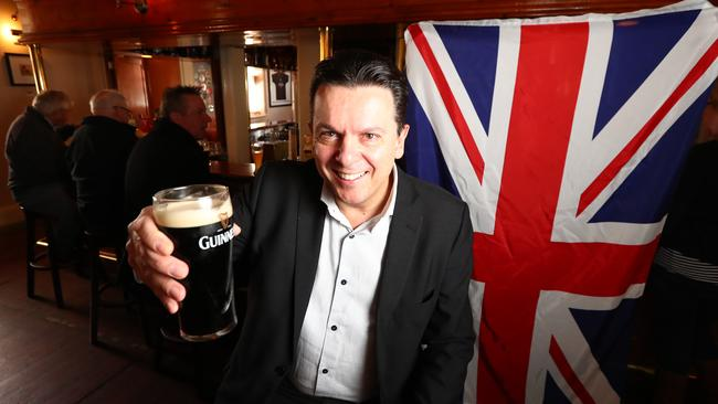 Senator Nick Xenophon announced that he is a dual British citizen at The British Hotel in North Adelaide, South Australia. Picture: Tait Schmaal.