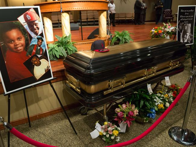 The casket of Michael Brown is viewed at Friendly Temple Missionary Baptist Church in St. Louis. Picture: Richard Perry