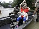 Tina Cross puts on a jacket as her dog Mitzy sits her lap while being evacuated as floodwaters from Tropical Storm Harvey rise Monday, Aug. 28, 2017, in Spring, Texas. Picture: AP Photo/David J. Phillip