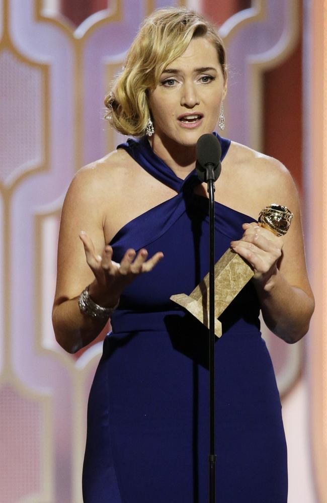 "Kate Winslet accepts the award for best supporting actress in a motion picture for her role in ""Steve Jobs"" at the 73rd Annual Golden Globe Awards on Sunday, Jan. 10, 2016, at the Beverly Hilton Hotel in Beverly Hills, Calif. (Paul Drinkwater/NBC via AP)"