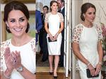 <p>Catherine, Duchess of Cambridge wears a white Lela Rose dress she attends a reception hosted by the Governor General Peter Cosgrove at Government House. Picture: Getty</p>