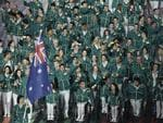 Australia's flag bearer Anna Meares leads the Australian team during the opening ceremony for the Commonwealth Games 2014 in Glasgow, Scotland, Wednesday July 23, 2014. (AP Photo/Kirsty Wigglesworth)