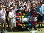 Perth: Same-sex couples and their friends and family gather at Queens Gardens this morning to watch the SSM result announced live by the ABS. Picture: Peter Wallis