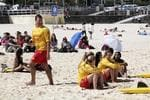 <p>Ex swimmer Ian Thorpe and director Phillip Noyce down at Bondi Beach shooting a video for the 2022 bid for the FIFA World Cup. A large group of extra and film crew were on site. Picture: Brad Hunter</p>