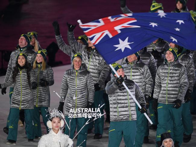 Australia's flagbearer Scotty James leads the delegation as they parade during the opening ceremony of the Pyeongchang 2018 Winter Olympic Games at the Pyeongchang Stadium. Picture: AFP