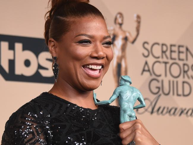 Queen Latifah poses with the Actor for Outstanding Performance by a Female Actor in a Television Movie or Miniseries in the press room. Picture: AFP/Frederic J. Brown