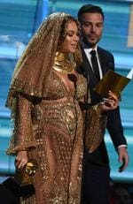 Beyonce receives a Grammy onstage during the 59th Annual Grammy music Awards on February 12, 2017, in Los Angeles, California. Picture: AFP