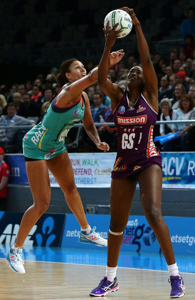 Geva Mentor takes on Romelda Aiken in the Trans-Tasman major semi-final. Picture: Norm Oorloff
