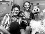 07/02/1995. Kylie Minogue joins Daryl Somers, Ossie Ostrich and the Hey Hey team as a special guest on Saturday November 26 at 6:30pm on Channel 9. Hey Hey It's Saturday.