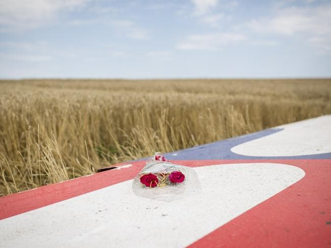 Flowers lie on part of the wreckage of Malaysia Airlines flight MH17 in Grabovo, Ukraine. Picture: Rob Stothard