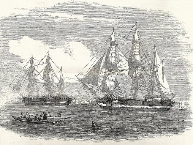 Illustration in the London News of the HMS Terror and HMS Erebus leaving England at the beginning of the Franklin expedition in 1845.