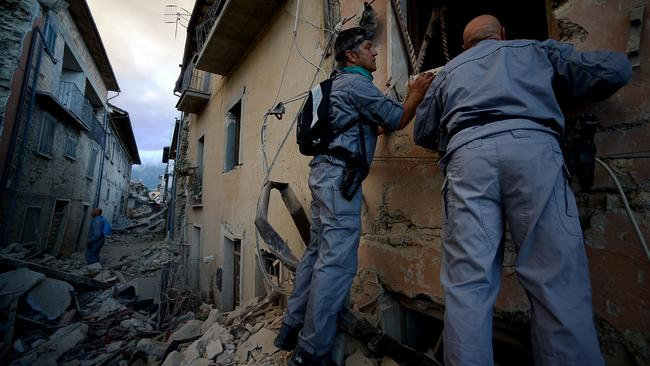 Numerous buildings have collapsed in communities close to the epicentre of the quake near the town of Norcia in the region of Umbria, Italy. Picture: AFP / Filippo Monteforte.
