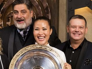 EMBARGOED UNTIL 10.30PM MONDAY JULY 24 - MasterChef winner Diana Chan with George Calombaris, Kirsten Tibballs, Matt Preston, George Calombaris and Shannon Bennett.
