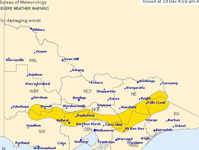 Victoria could be in for some nasty storm activity. Picture: Bureau of Meteorology