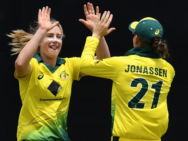 Ellyse Perry celebrates after taking a wicket during the first ODI of the women's Ashes. Pic: AAP
