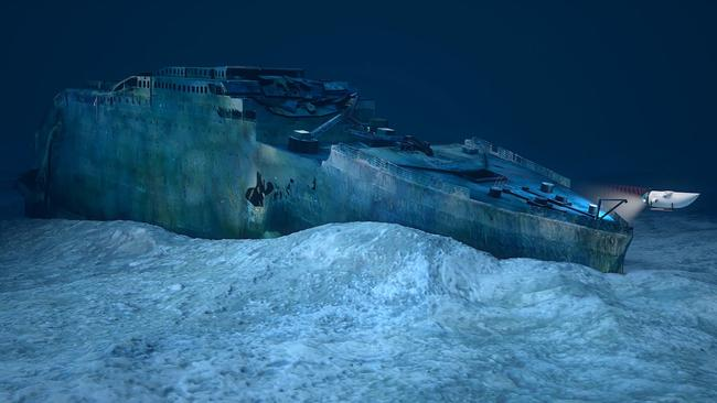 The Titanic sits at the bottom of the North Atlantic Ocean, split in two parts.