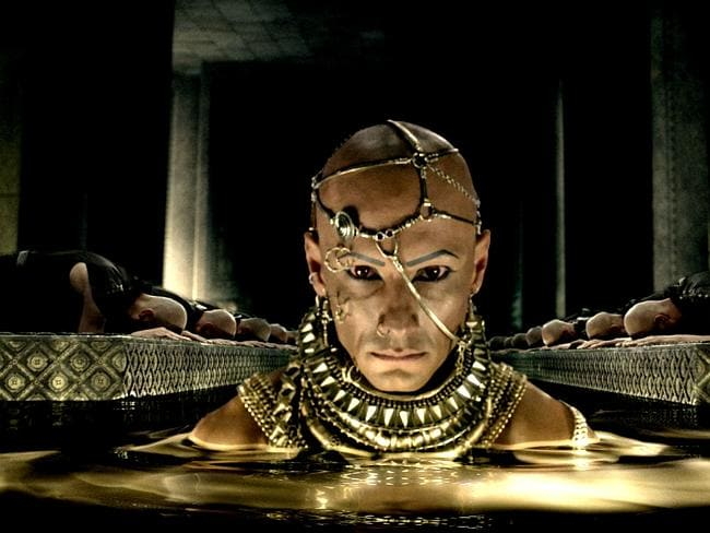 Not out of place at Mardi Gras ... Actor Rodrigo Santoro plays Xerxes in 300: Rise of an Empire. (AP Photo/Warner Bros. Pictures)