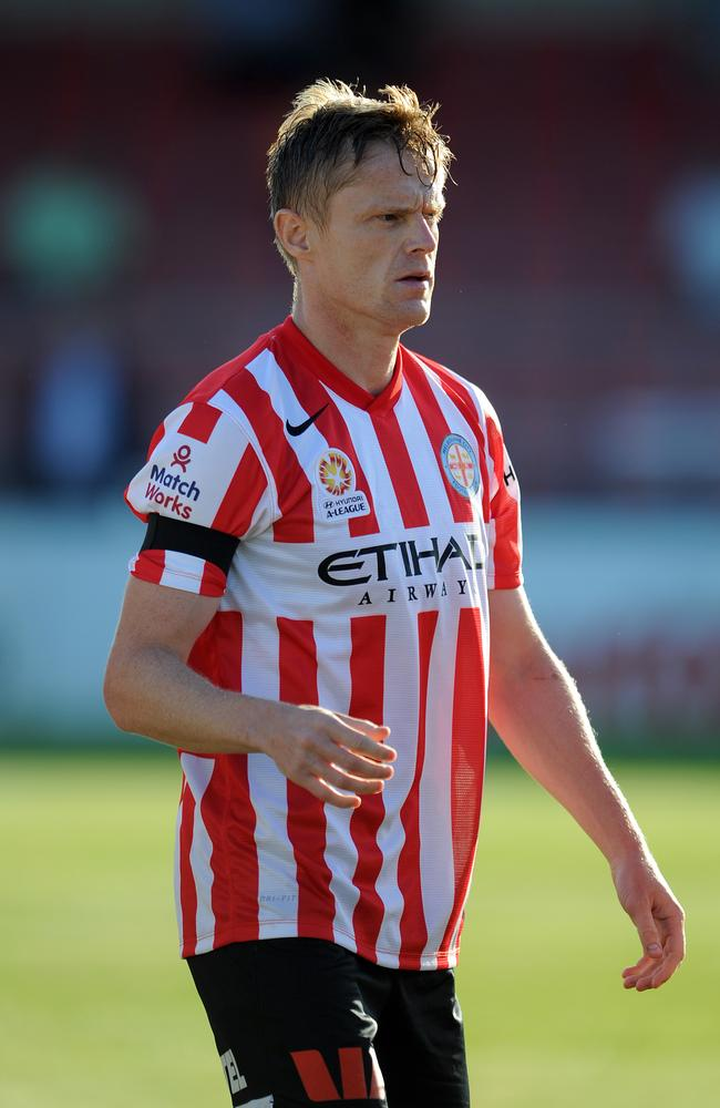 Damien Duff grabs a breather during Melbourne City's match against a Bolton Wanderers XI.