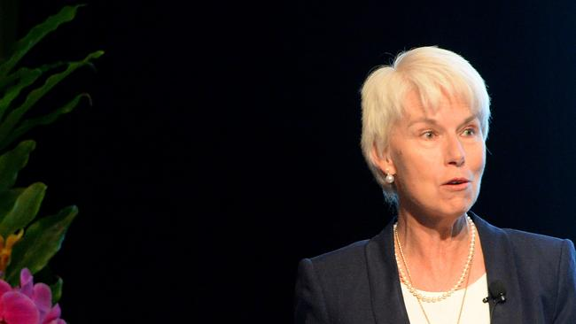 Come on Gail...cough up the interest rates cut. Westpac CEO Gail Kelly speaking at a Ruby event network lunch at The Sofitel in Melbourne. Pictures: Angie Basdekis