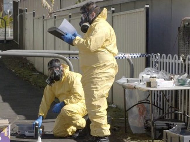 Police outward a meth lab in a suburbs during filming of a 4 partial ABC TV array Ice Wars.