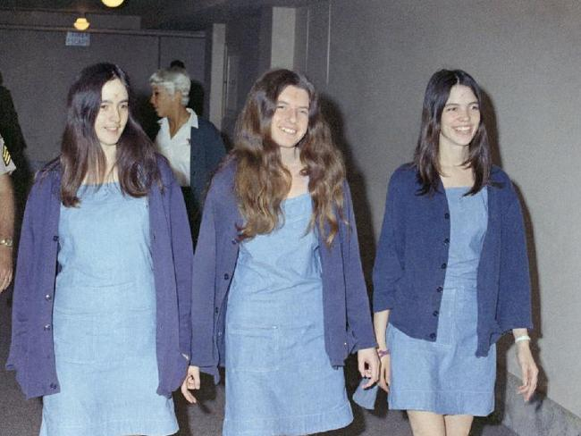 Charles Manson followers (L-R) Susan Atkins, Patricia Krenwinkel and Leslie Van Houten walking to court in 1970. Picture: Supplied.