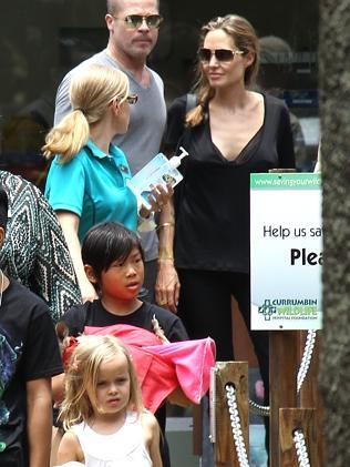 Brad Pitt and Angelina Jolie with their children visit the Currumbin Wildlife Park on the Gold Coast.