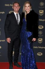 Newcastle Knights player Danny Levi and Kinberley Goodearl arrive at the Dally M Awards in Sydney, Wednesday, September 27, 2017. The awards are named in honour of former Australian Rugby League great Herbert Henry 'Dally' Messenger, and were introduced in 1980. (AAP Image/Dan Himbrechts) NO ARCHIVING