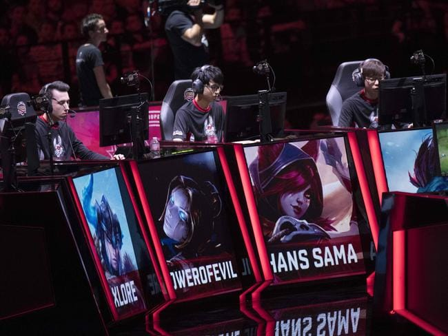 "French video game player Hans Sama from the team Misfits Gaming competes with teammates in final of the ""LCS"", the first European division of the video game ""League of Legends"". Picture: AFP"