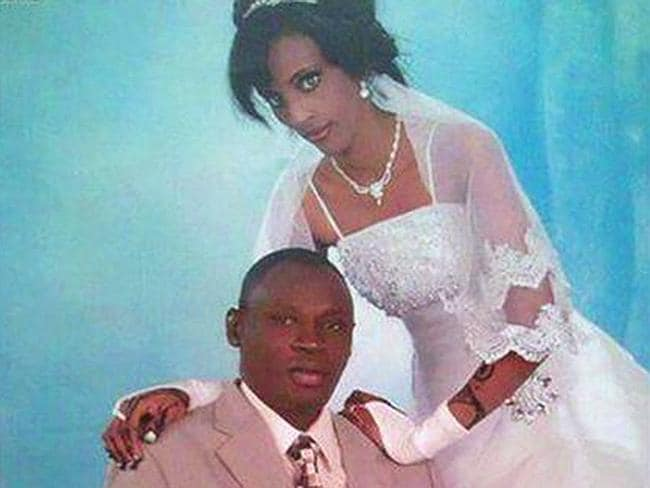 Birth not a joyous occasion ... Meriam Ibrahim Ishag, in a wedding photo with her husband, is sentenced to be hanged.