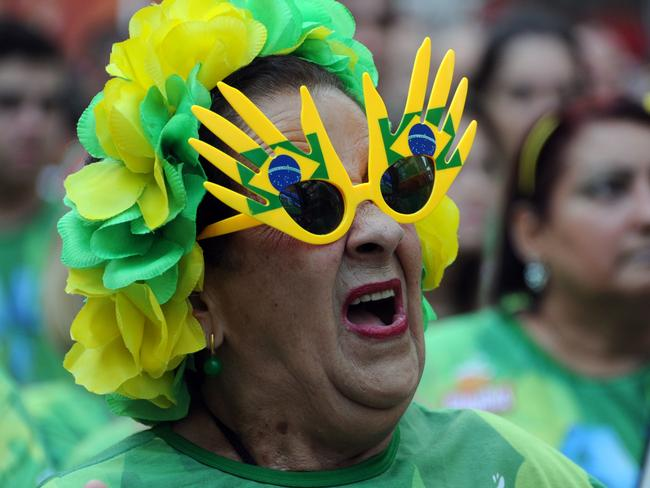 This Brazilian fan isn't saying anything bad. We just like the glasses.
