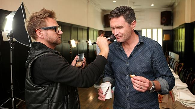 Dave Hughes gets a touch-up behind the scenes of the comedy photo at The Melbourne Supper Club.