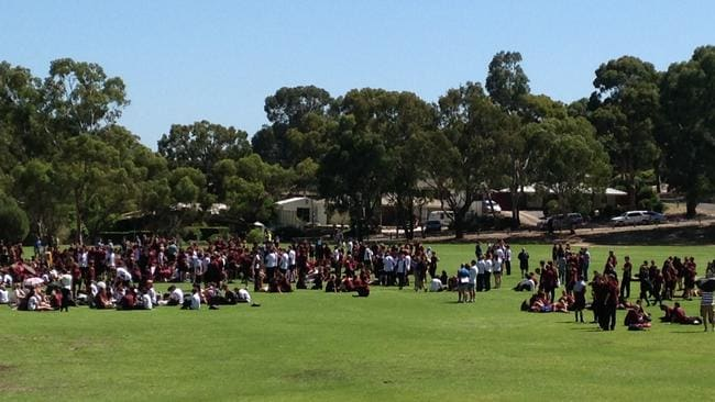 Aberfoyle Park High School students were evacuated to the school oval after threats on Friday. Picture: Sam Wundke