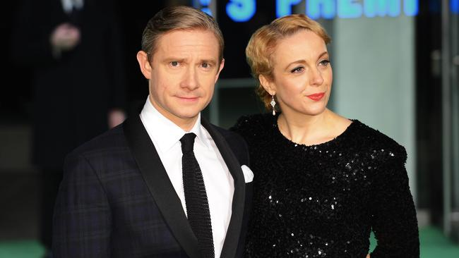 In the family ... Martin Freeman with his partner Amanda Abbington, who plays his character's love interest in the show. Picture: AFP