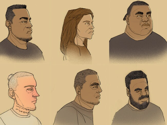 Six people have been charged with the murder. Clockwise from top left: Webbstar Latu, 31, Ngatokoona Maretti, 36, Stou Daniels, 21, Tuhirangi-Thomas Tahiata, 24, Davy Malu Junior Taiao, 21, Trent Michael Thrupp, 22.