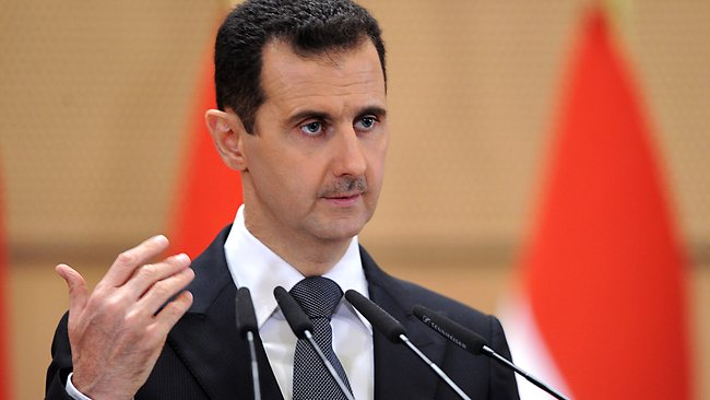 Syrian President Bashar Assad delivers a speech in Damascus, Syria. Picture: AP