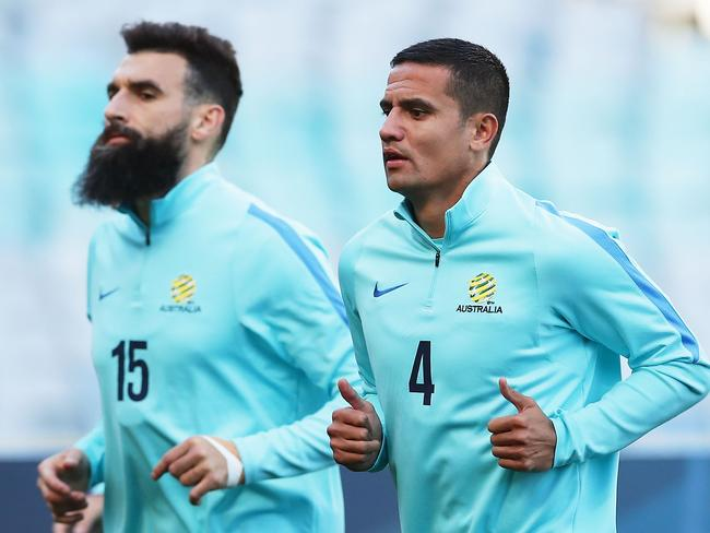 Veteran steel: Mile Jedinak and Tim Cahill. (Photo by Matt King/Getty Images)