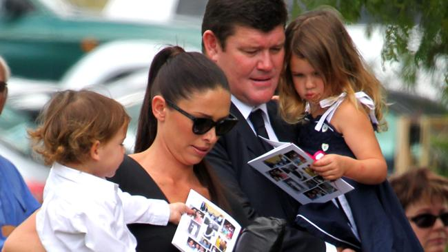 James Packer and his wife Erica arrive with their children Indigo and Jackson at Erica's mothers funeral in Gunnedah, northern NSW. Sheelah Baxter died of cancer on 30/11/2011.