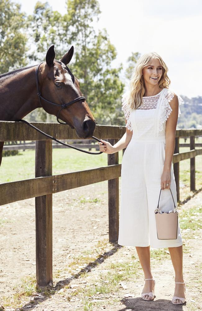 Anna Heinrich is the face of fashion chain Forever New's marquee at Portsea Polo. Picture: Michelle Holden/Forever New