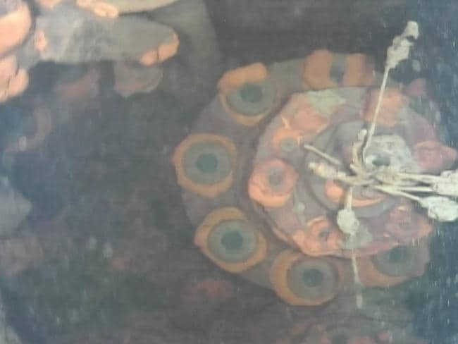 Part of a reaction control rod drive of Unit 3 at Fukushima Dai-ichi nuclear plant. Fuel rods have melted and mostly fallen to the bottom of the chamber submerged by highly radioactive water. Picture: AP