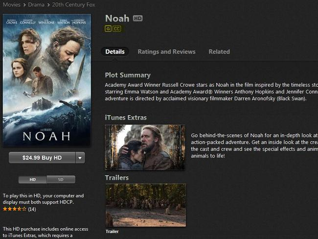 The Noah movie is rated G on iTunes, even though it contains violence and sex references.