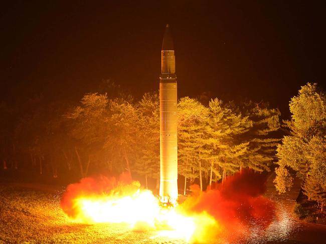 Intercontinental ballistic missile Hwasong-14 is launched at an undisclosed place in North Korea. Picture: AFP/KCNA via KNS