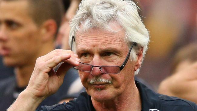 """Young man, are you suggesting we didn't make the finals on our merits? Um, no Mr Malthouse. By which we really mean """"yes"""". (Photo by Michael Dodge/Getty Images)"""