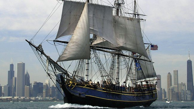 "The ""HMS Bounty"" during a visit to Chicago. Picture: AFP /JEFF HAYNES"
