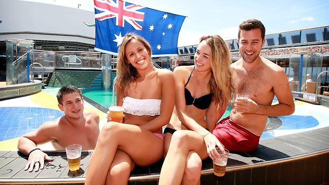Michael Saros 22, Sophie Jones 24, Rachel Winter 24 and Craig Jost 27, enjoy an Aussie beer out on the pool deck. Picture: Tim Hunter