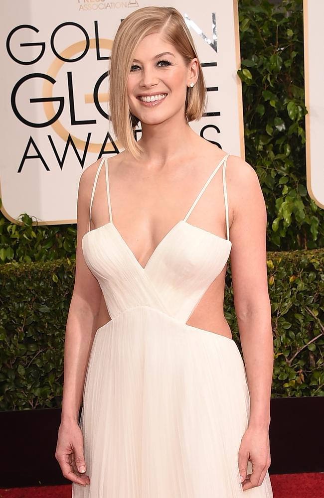 Actress Rosamund Pike attends the 72nd Annual Golden Globe Awards at The Beverly Hilton Hotel on January 11, 2015 in Beverly Hills, California. Picture: Jason Merritt/Getty Images