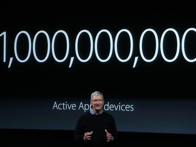 Hot property ... Apple CEO Tim Cook says there are now one billion Apple devices in use around the world. Picture: Getty Images