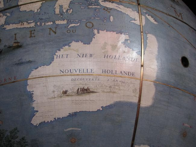 "Different versions of ""New Holland"", or what we now call Australia, popped up across maps in the 17th Century. This one appeared on a Coronelli globe, commissioned in 1681,"