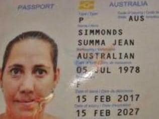 passport of the Australian woman who drank herself to death in Bali - her name is Summa Simmonds.
