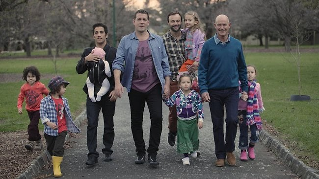 The husbands and their children on the set of Channel 9's new drama, House Husbands.