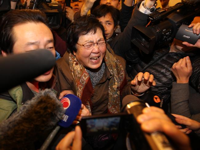 No closure ... a relative of a passenger on-board Malaysia Airlines flight MH370 cries at Lidu Hotel in Beijing, China.